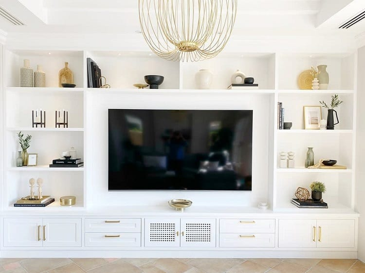 White Gold Built In Entertainment Center