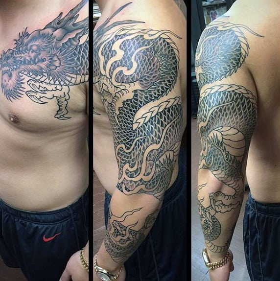 White Grey Tattoo Of Dragon Male Sleeves