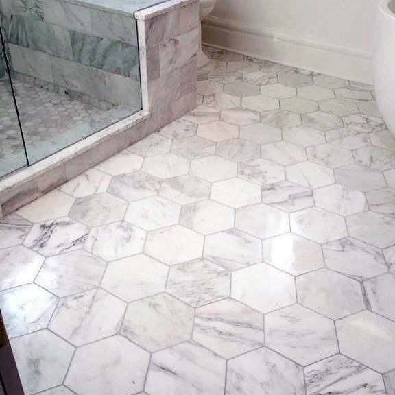 White Hexagon Marble Bathroom Flooring Design Ideas