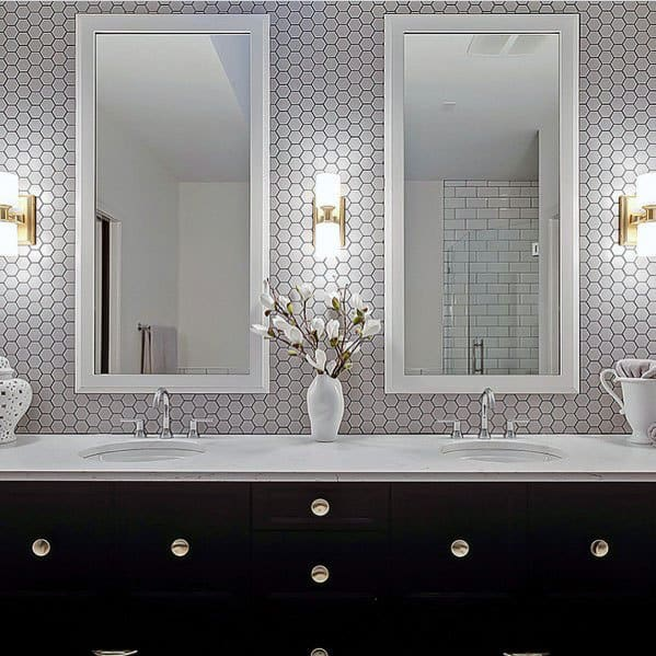 White Hexagon Tiles With Grey Grout Bathroom Vanity Backsplash Ideas