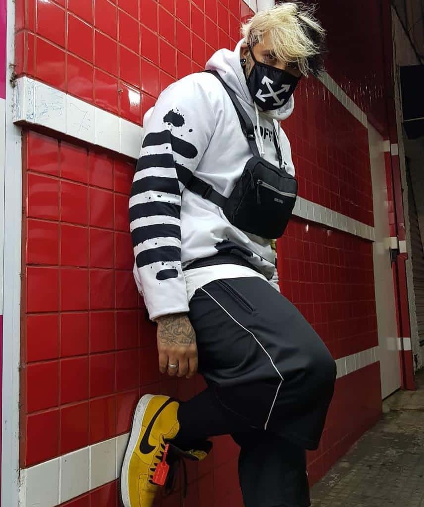 White Hoody Facemask Outfit