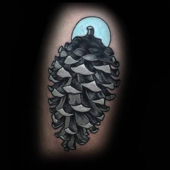 White Ink 3d Pine Cone Male Thigh Tattoos