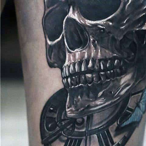 White Ink And Grey Detailed Mens Skull And Clock Arm Tattoo