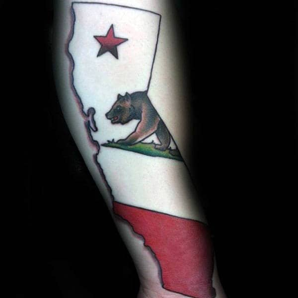 White Ink California Bear State Male Forearm Tattoos