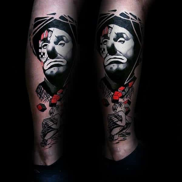 White Ink Clown Mens Amazing Leg Tattoos