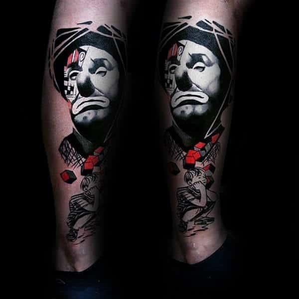 White Ink Clown Mens Amazing Leg Tattoos