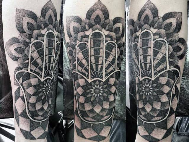 White Ink Dotwork Pattern Guys Hamsa Inner Forearm Tattoos