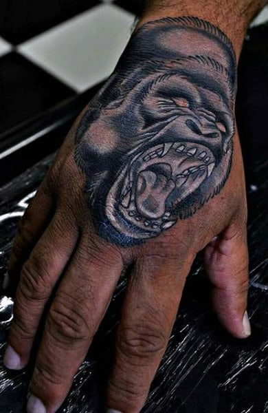 White Ink Gorilla Tattoo On Mans Hand