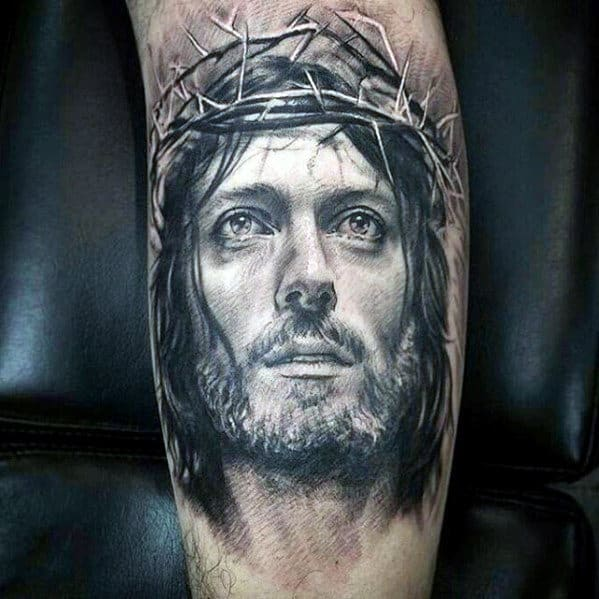 White Ink Guys 3d Jesus Portrait Arm Tattoo