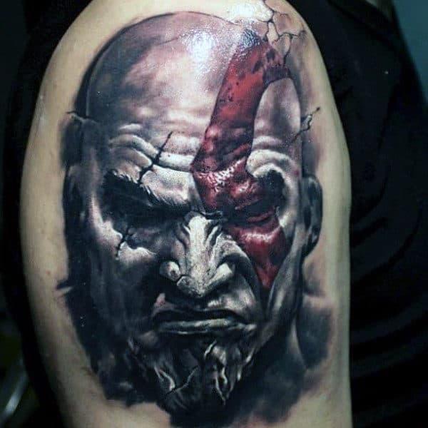 White Ink Kratos Guys Arm Tattoo