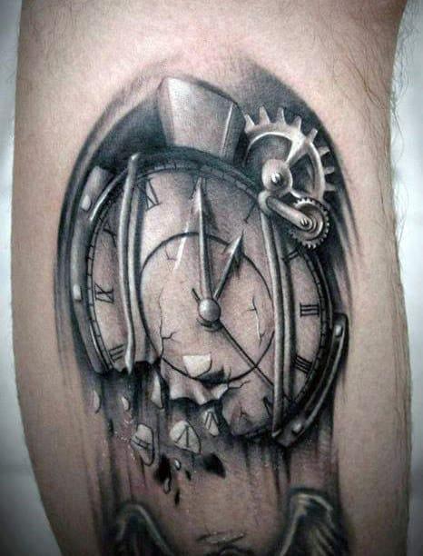 White Ink Mens Melting Clock Leg Tattoos