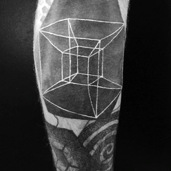 White Ink Over Black 3d Cube Male Tattoo With Blast Over Design