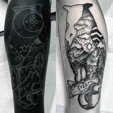 White Ink Over Black Ink Twin Peaks Male Leg Tattoos