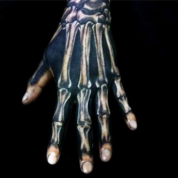 White Ink Over Black Ink Unique Hand Mens Bones Tattoo