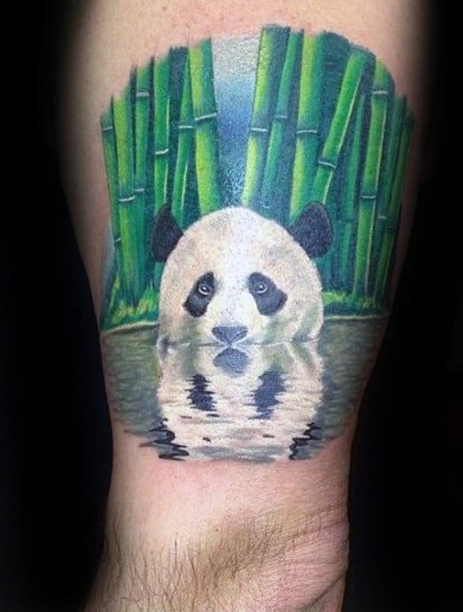 White Ink Panda Bear In Water With Green Bamboo Mens Arm Tattoos