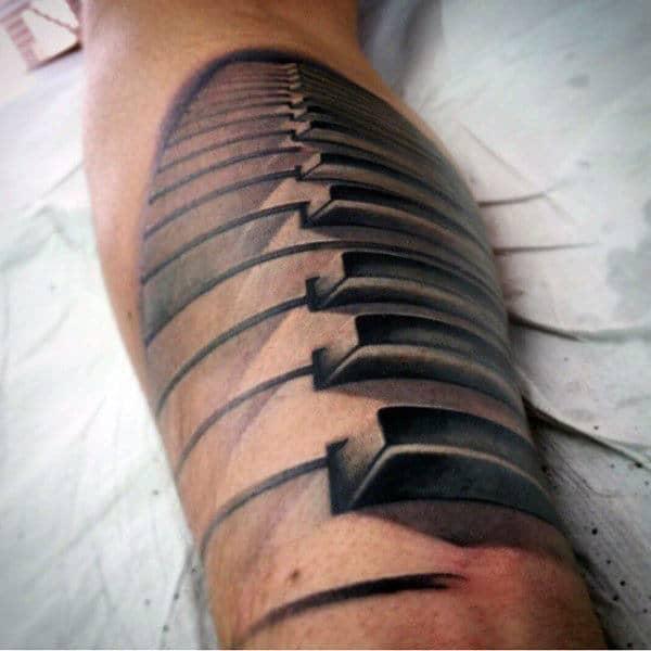 White Ink Piano Keys Mens Forearm Tattoo