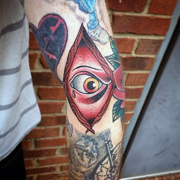 White Ink Sailor Jerry Themed Eye Tattoo For Men On Arm