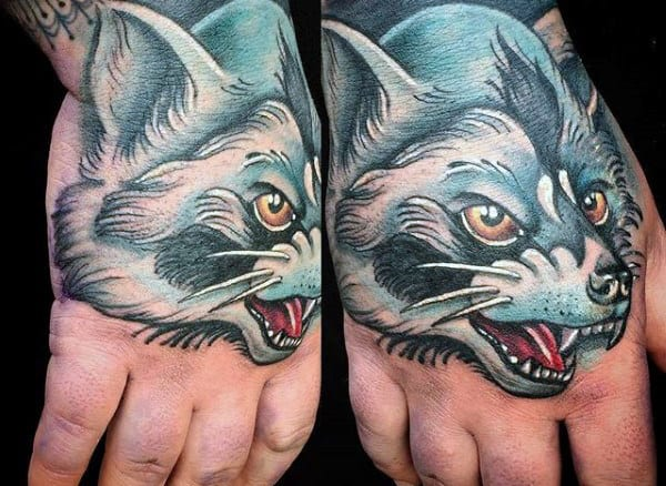 White Ink Shaded Raccoon Male Hand Tattoo
