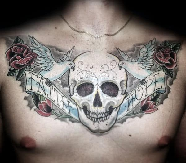 White Ink Skull With Doves And Roses Guys Upper Chest Hope Tattoo