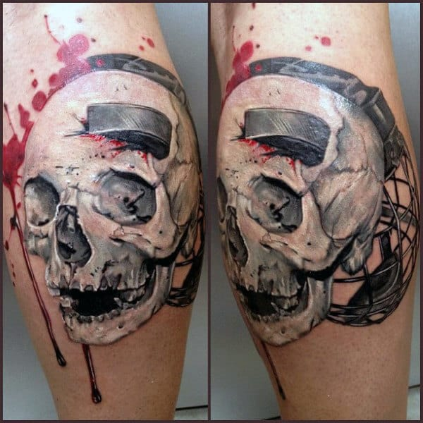 White Ink Skull With Hockey Puck Male Leg Calf Tattoos