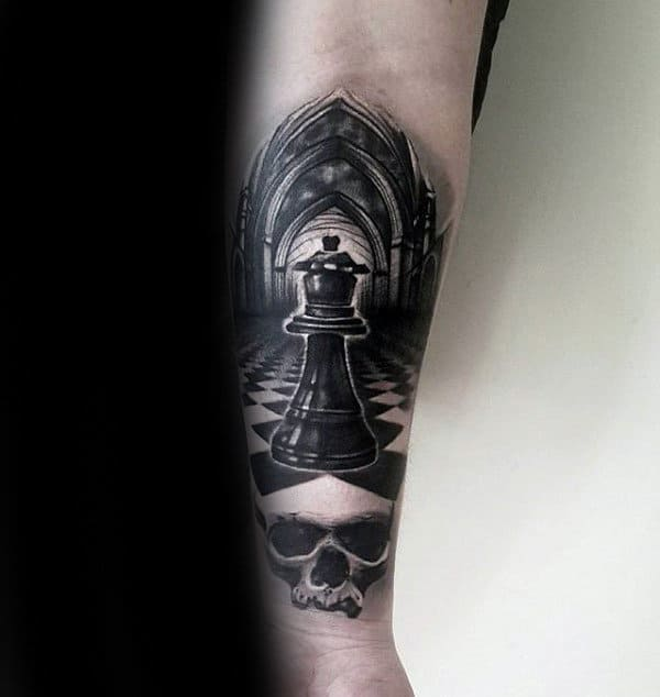 White Ink Skull With King Chess Piece Guys Tattoo On Inner Forearm