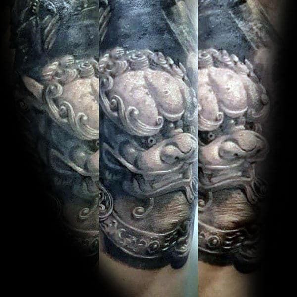 White Ink Statue Of Foo Dog Mens Sleeve Tattoo
