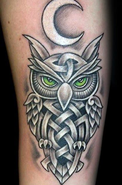White Ink Tribal Arm Celtic Owl Guys Tattoo Ideas