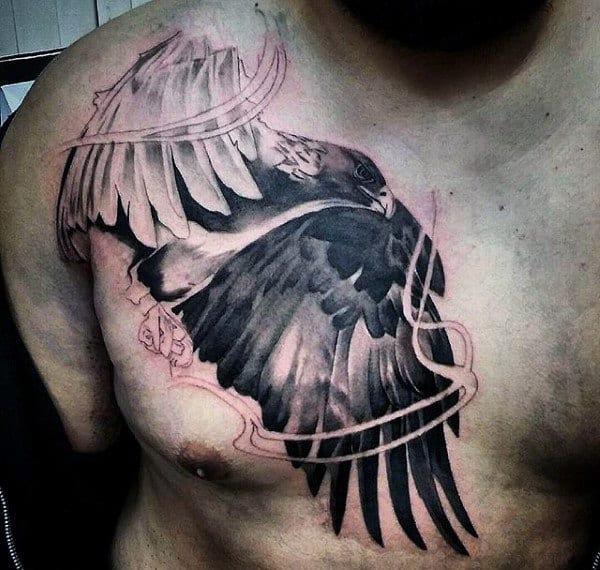 White Inked Bald Eagle Tattoo Mans Chest