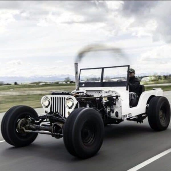 White Jeep No Top Badass Rat Rods With All Black Rims