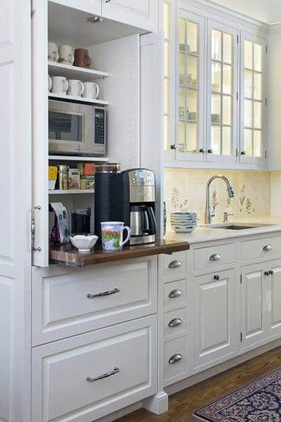 White Kitchen Cabinets Coffee Bar Ideas & Top 60 Best Coffee Bar Ideas - Cool Personal Java Cafe Designs