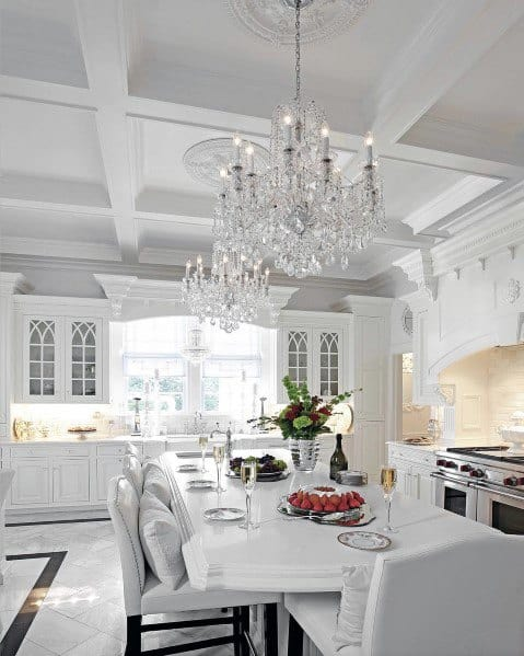 White Kitchen Coffered Ceiling Ideas