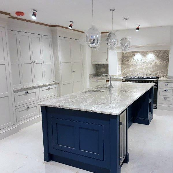 White Kitchen Ideas With Navy Blue Island Cabinets