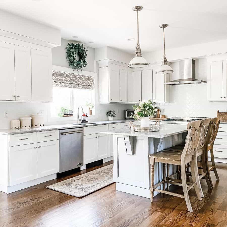 White Kitchen Modern Farmhouse Kitchen Ourhome.becoming