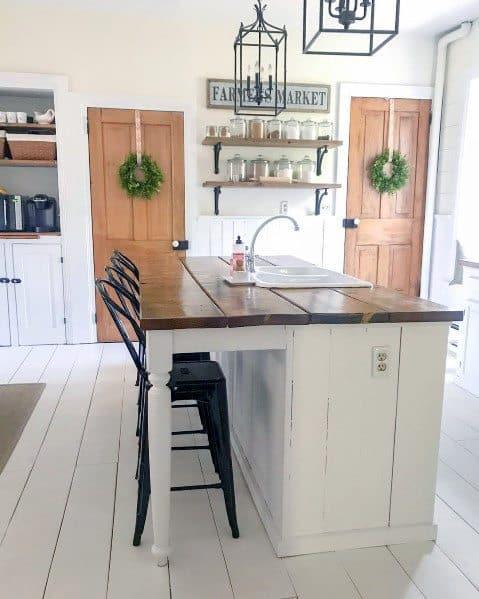 White Kitchen Painted Floor Interior Ideas