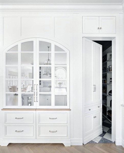White Kitchen Pantry Cabinets Interior Ideas For Hidden Doors