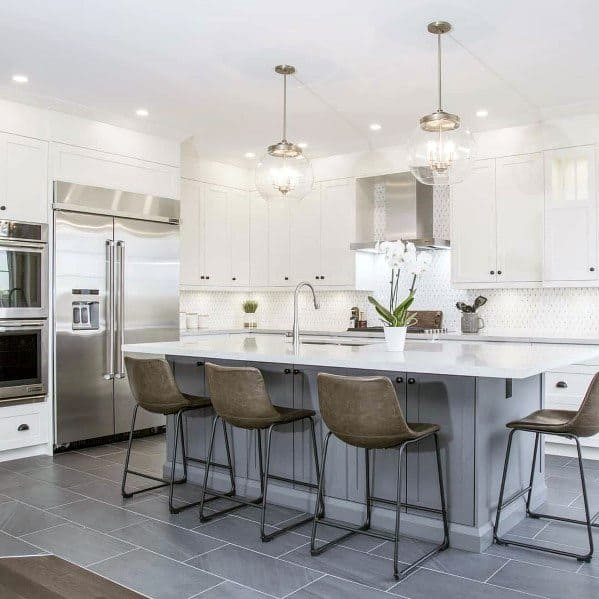 White Kitchen Stone Backsplash Ideas
