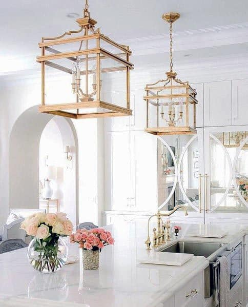 White Kitchens Interior Ideas Gold Light Fixtures