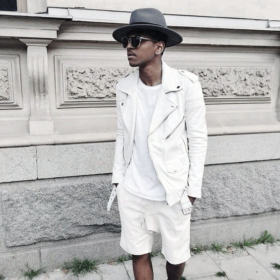 White Leaher Jacket And Shorts All White Outfits For Men