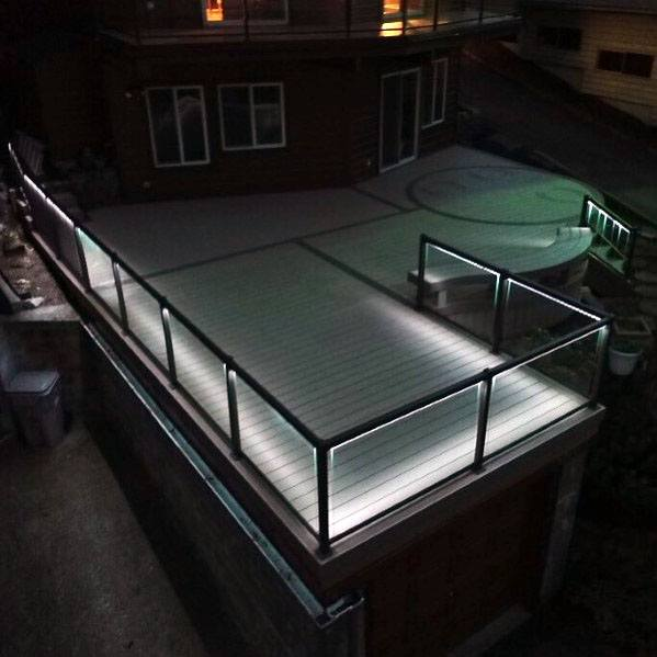 White Led Railing Excellent Exterior Ideas Deck Lighting