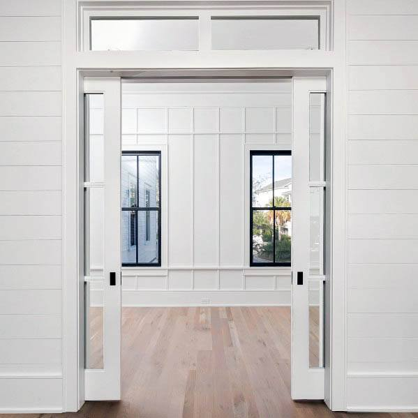 White Luxury Pocket Door Home Designs
