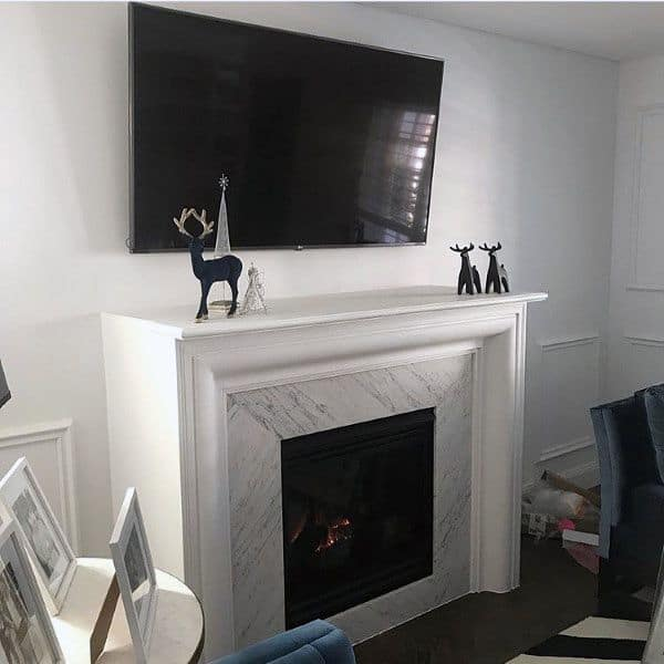 White Mantel Gas Fireplace Traditional Design Ideas