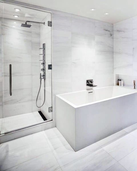 White Marble Bathroom Floor Inspiration