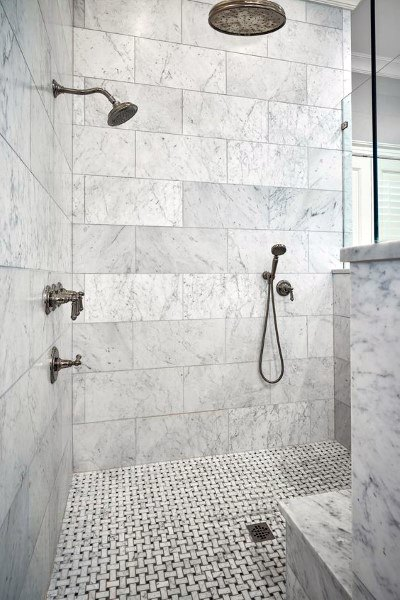 White Marble Bathroom Tile Shower Ideas