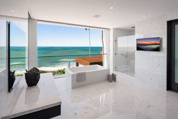White Marble Cool Bathrooms Ideas