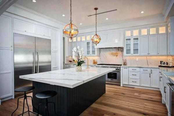 White Marble Design Ideas For Stone Backsplash For Kitchen