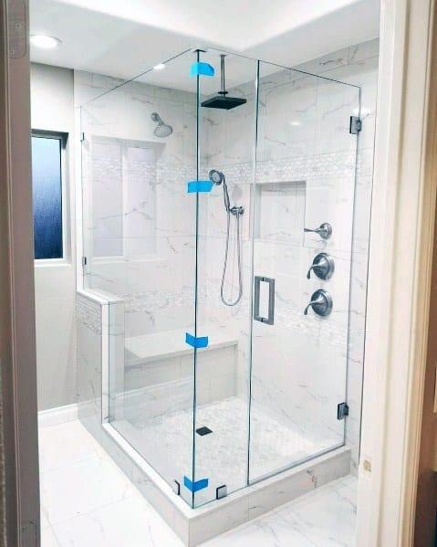 White Marble Designs Corner Shower