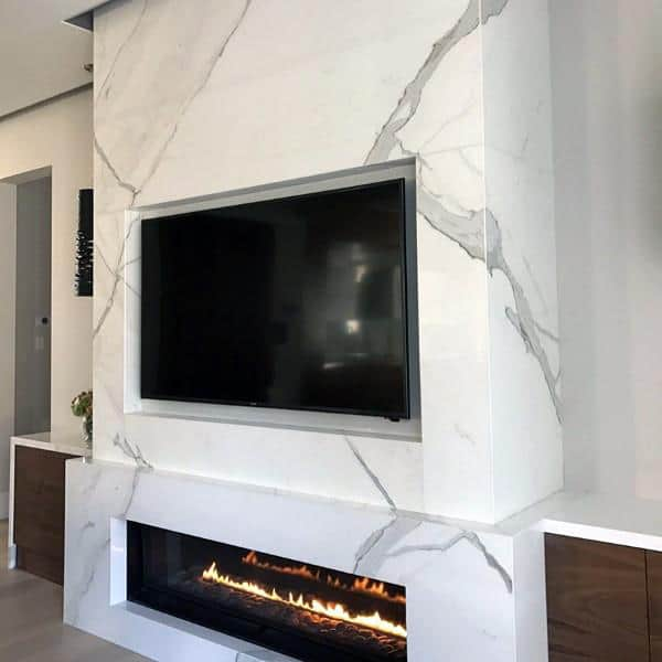 White Marble Gas Fireplace Designs With Built In Tv