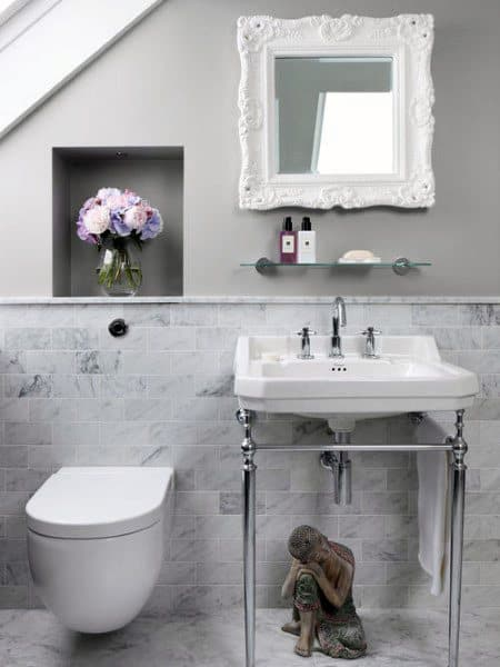 White Marble Half Bath Ideas With Wall Hung Toilet