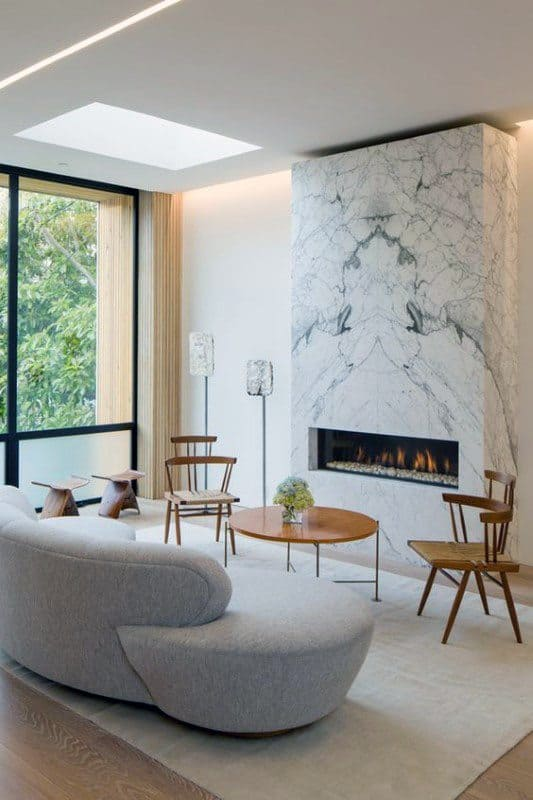 White Marble Living Room Ideas Modern Fireplace Design