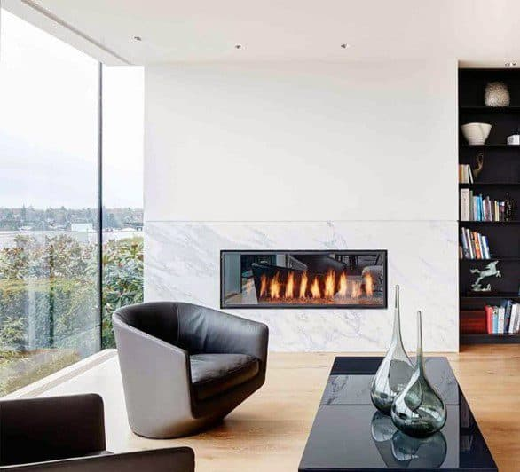 White Marble Modern Fireplace Design Inspiration